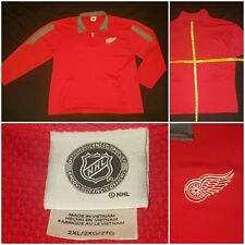 Nhl Detroit Red Wings Hockey 1/4-Zip Pullover Jacket 100% Polyester w/ Pockets