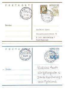 1982 NORWAY - 2 x Arctic Polar Covers ISFJORD & JAN MAYEN Stationery Postcards