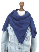 Ella Jonte Foulard Écharpe Pour Bleu Franges Large Viscose Triangulaire Tissu