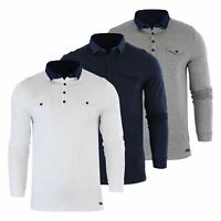 Brave Soul Gospel Mens Polo T Shirt Denim Collared Long Sleeve Casual Top