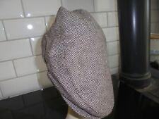 Unworn M-L Brown Herringbone Weave Flat Cap Wool Blend.
