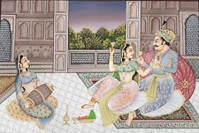 Hand Painted Original Painting On Canvas Mughal King & Queen Indian paining