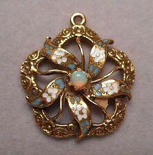 Antique Victorian Sentimental Pendant - 14K Gold w/ Enameled Flowers & Tiny Opal