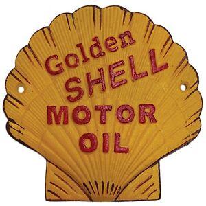 CAST IRON SIGN - GOLDEN SHELL MOTOR OIL - VINTAGE WORLD AUSTRALIA