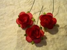 25 Paper ROSES 23mm DARK RED MPR23:: Miniature Cake EmbellishmentWedding Cards