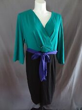 New Lane Bryant 3/4 sleeve color block wrap dress w/belt plus size 26/28 solid