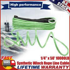 """1/4"""" X 50' 10000LB Cable de recuperación de línea de Cuerda SINTETICA CABRESTANTE 4WD SUV Camioneta Verde"""