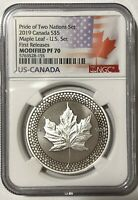 2019 $5 SILVER CANADIAN MODIFIED MAPLE LEAF NGC PF70 FR PRIDE OF TWO NATIONS