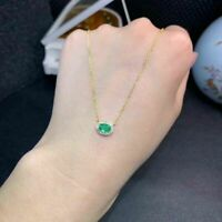 """14k Yellow Gold Over 1.20 Ct Oval Emerald Pendant Necklace With 18"""" Chain"""