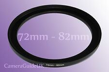 72mm to 82mm 72-82 Stepping Step Up Filter Ring Adapter