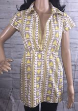 Old Navy Blouse Large Pastel Yellow Gray White Geometric Design Peasant Shirt