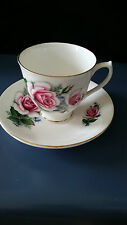 Elizabethan Fine China Tea Cup & Saucer by Taylor & Kent White, Gold Trim, Roses