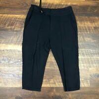 Helmut Lang Black Pleated Crop Capri size 2 Career Women's Casual Dress Pants