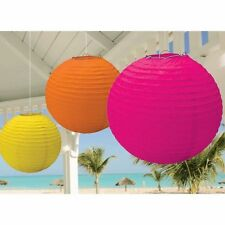 "3 Party Celebration Wedding Hanging Paper Lanterns Yellow Orange pink 12"" 10"" 8"""