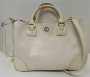 TORY BURCH off white double top handle tote/crossbody bag with patent