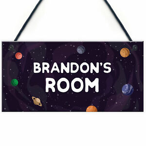 Name Plaque Door Nursery Bedroom Sign Space Theme Gift Boy Children Xmas Gift