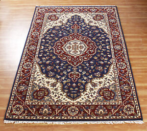 Indian Handmade Area Rug Blue Red 'Hintyarup' Hand Knotted Carpet Wool Tradition
