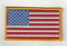 American Flag Patch Embroidered Iron-on Yellow Border USA United States QUALITY