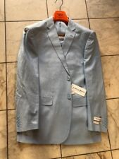 NWT LORENZO BRUNO Modern Fit Men's Linen Blend Suit Lined Sky Blue 2BT. Size 42L