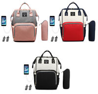 LEQUEEN Baby Diaper Bags Waterproof Backpack Mummy Maternity Nappy USB Charge