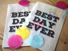 10x modern style 'best day ever' confetti bags for wedding, party, favours