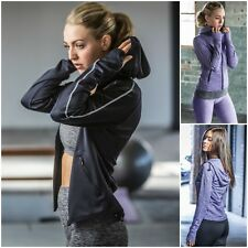 Womens Full Zip Running Sports Jacket Top Hood Thumb Holes Reflective Light Gym