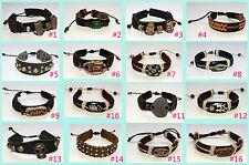 Unsex Leather Hemp Adjustable Cuff Bracelet Wristband
