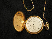 14K GOLD WALTHAM 7 JEWEL ENGRAVED POCKET WATCH  1918