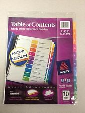 Avery Ready Index Table of Contents Reference Divider- Printed 10/set-Color