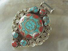 Tibet Nepal Neusilber Amulett Ketten Anhänger m.Türkis & rote Koralle Inlays