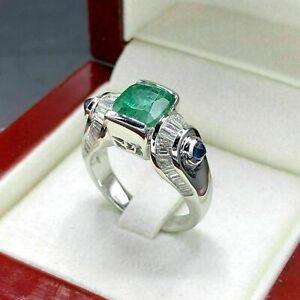 Men's Engagement Wedding Wonderful Fine Ring 2.1Ct Emerald 14K White Gold Over