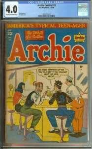 ARCHIE COMICS #22 CGC 4.0 CR/OW PAGES