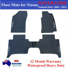 All Weather Rubber Floor Mats Tailor Made for Nissan Navara D40 Dual Cab Grey