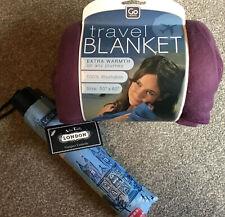 london umbrella With Purple Travel Blanket