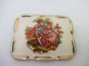 Vintage Limoges Castel Porcelain Picture Brooch of Fragonard Lovers Scene
