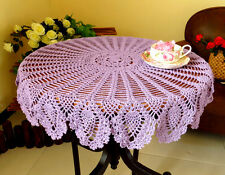 Sweet Crochet Flower Tablecloth Cotton Hollow Table Cover Round Cloth Home Decor