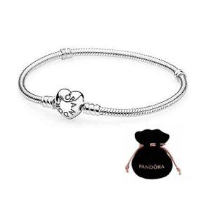 New Pandora 925 Sterling Silver Love&Hearts Luxury Women Charm Snake Bracelet