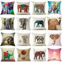 Painted Elephant Pillow Case Cotton Linen Sofa Throw Cushion Cover Home Decor