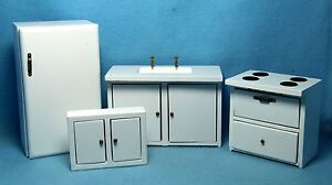 Dollhouse Miniature Complete Wood White Kitchen Set with Wall Cabinet D3777
