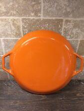 Vintage Copco Denmark Cast Iron Enamel Orange Flame Lid