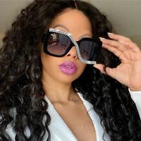 Luxury Rhinestone Oversized Square Sunglasses Retro Women Outdoor Shades Glasses