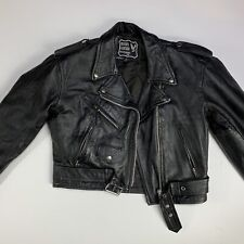 Vintage Women's Leather Moto Jacket Classic Motorcycle Belted Rider