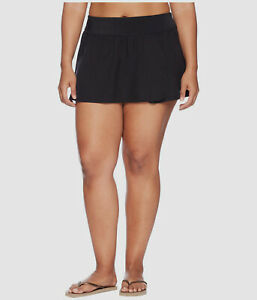 New $97 Nike Swimwear Women's Black Petaled Boardskirt Swim Bottom Plus Size 1X