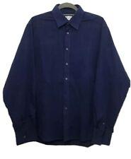 YVES SAINT LAURENT YSL Men's Navy Blue 39'' Chest Sz Large Long Sleeve Shirt