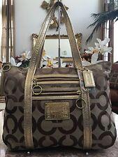 Coach Signature Poppy 3D Op Art Glam Beige Turquoise Tote Purse Handbag 14983