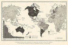 W7742 Carta geografica relativa alla distribuzione di autoveicoli nel mondo