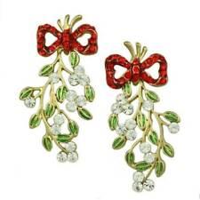Red Crystal Bow with Green Enamel Dangling Mistletoe Pierced Earring - XP341E