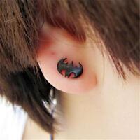 2pcs Newest Punk Women Men's Black Stainless Steel BAT Batman Earrings Ear Stud