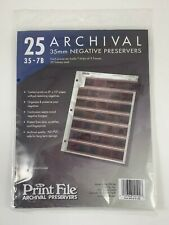 Print File 25 Count 35-7B 35 mm Archival Negative Preservers Sleeves New Sealed