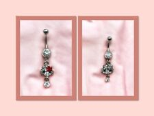 2X Surgical Steel Twin Hello Kitty Dangle Belly Button Ring - Canada Seller